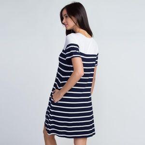 Dresses & Skirts - Navy Blue & white Dress